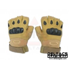 Deltacs Carbon Knuckle Half Finger Combat Gloves - Tan(M-XL)